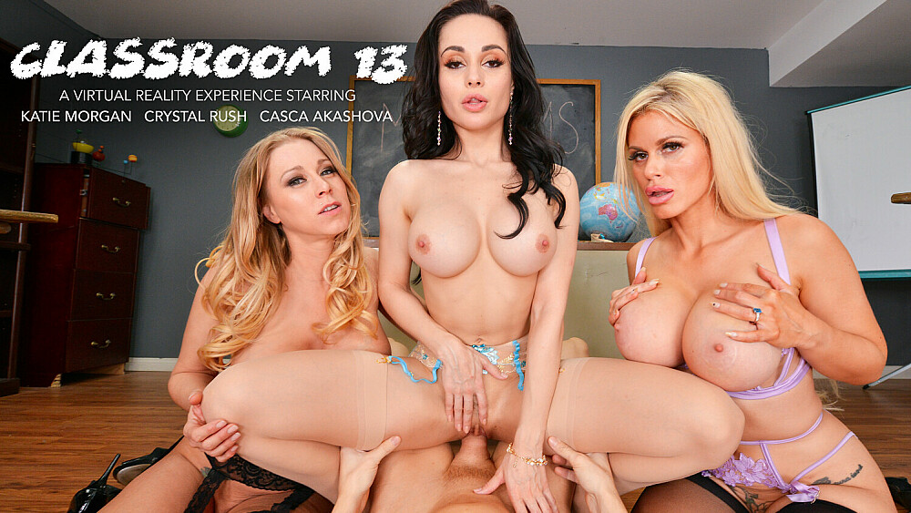 MILF Professors Casca Akashova, Crystal Rush, and Katie Morgan motivate a struggling student with their big huge tits and wet pussies