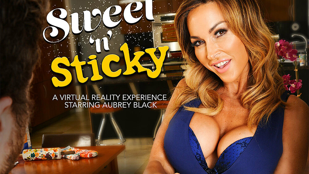 Aubrey Black fucking in the kitchen with her tits vr porn