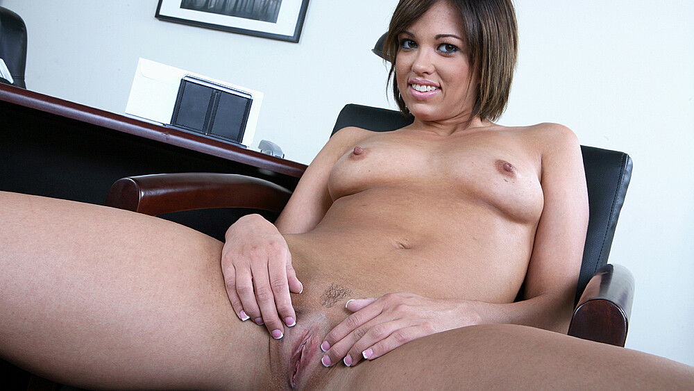 Jenny Hendrix fucking in the desk with her natural tits