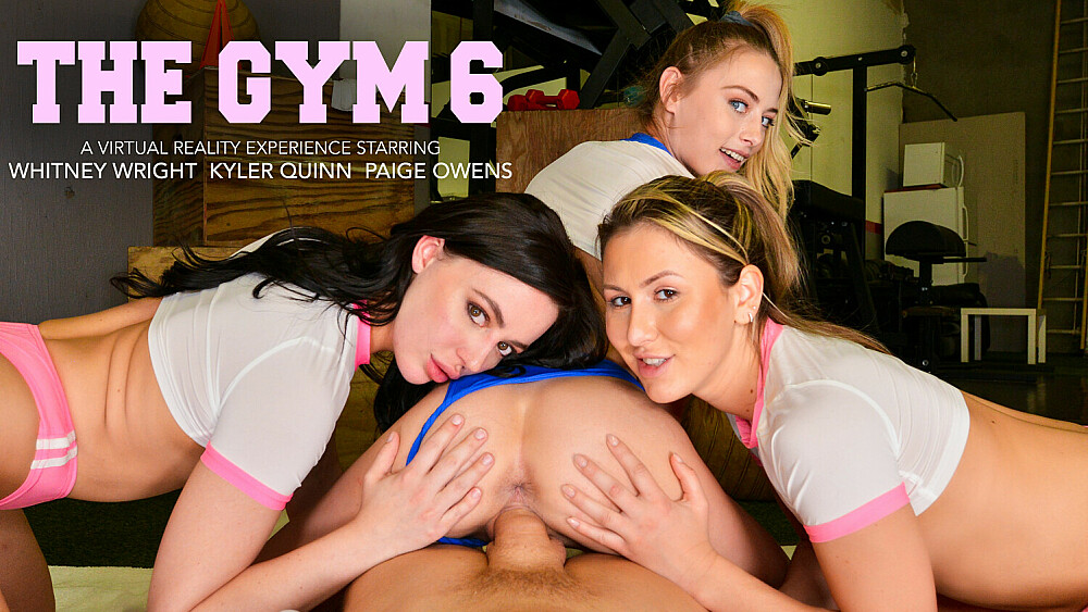 Sexy babes, Kyler Quinn, Paige Owens, & Whitney Wright, tag team a gym stud