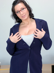 MILF & Professor Porn Video with Big Fake Tits and Brunette scenes