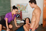 Jessica Jaymes, Tiffany Brookes & Johnny Castle in My First Sex Teacher - Sex Position 1