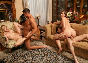 Lexi Belle, Brooke Lee Adams, James Deen & Rocco Reed in Naughty Rich Girls