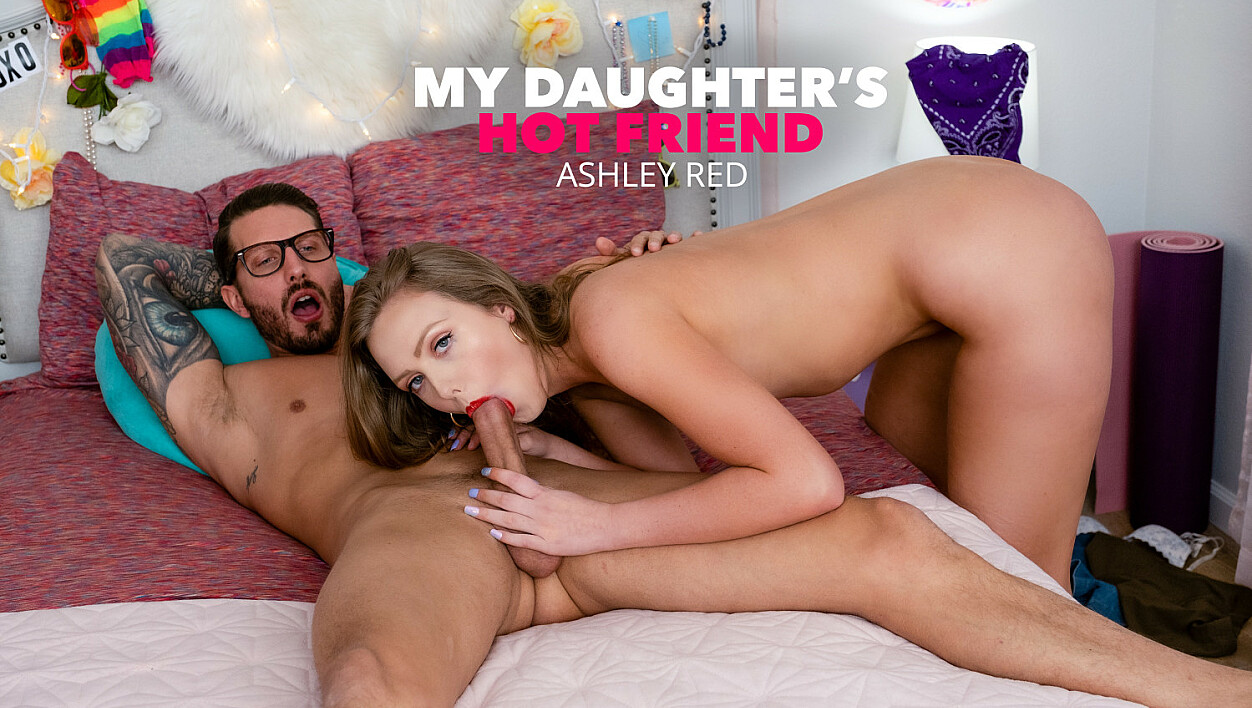 Ashley Red gets wet and strips down for friend's dad