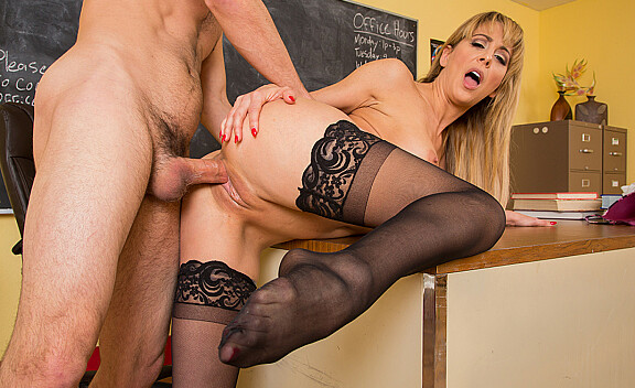 Cherie DeVille fucking in the desk with her big tits - Sex Position #2