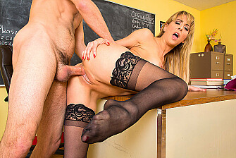 Cherie DeVille fucking in the desk with her big tits - Sex Position 3
