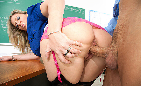 Sara Jay fucking in the desk with her tattoos - Sex Position #8