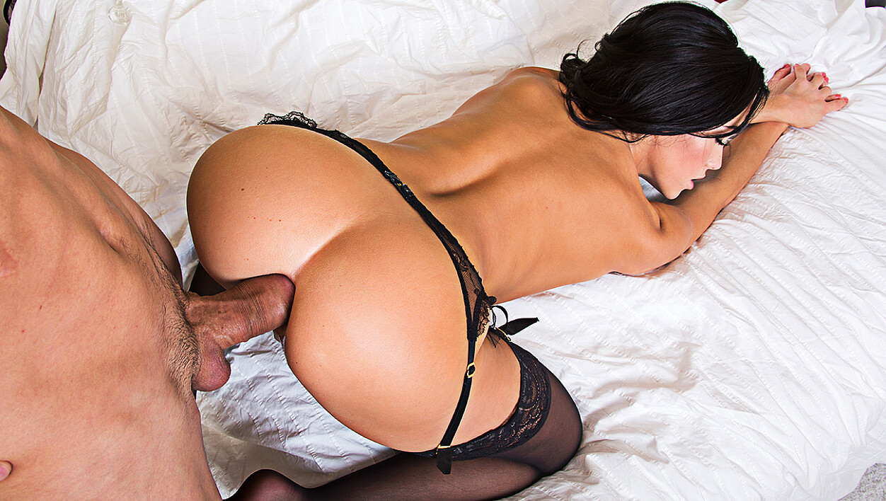 Megan Rain fucking in the bedroom with her lingerie