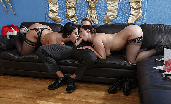 Angela White fucking in the couch with her big natural tits - Sex Position #4