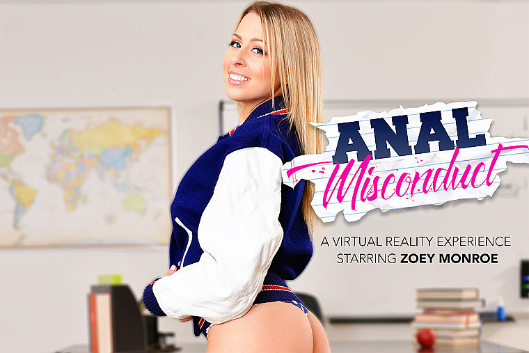 Zoey Monroe fucking in the desk with her medium ass vr porn