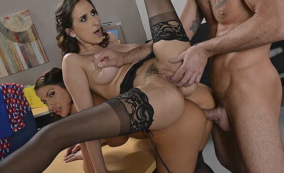 Ashley Adams fucking in the office with her brown eyes - Sex Position #10