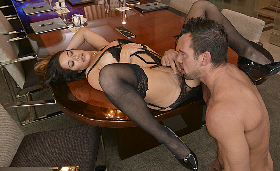 Eva Lovia fucking in the table with her hazel eyes - Sex Position #5