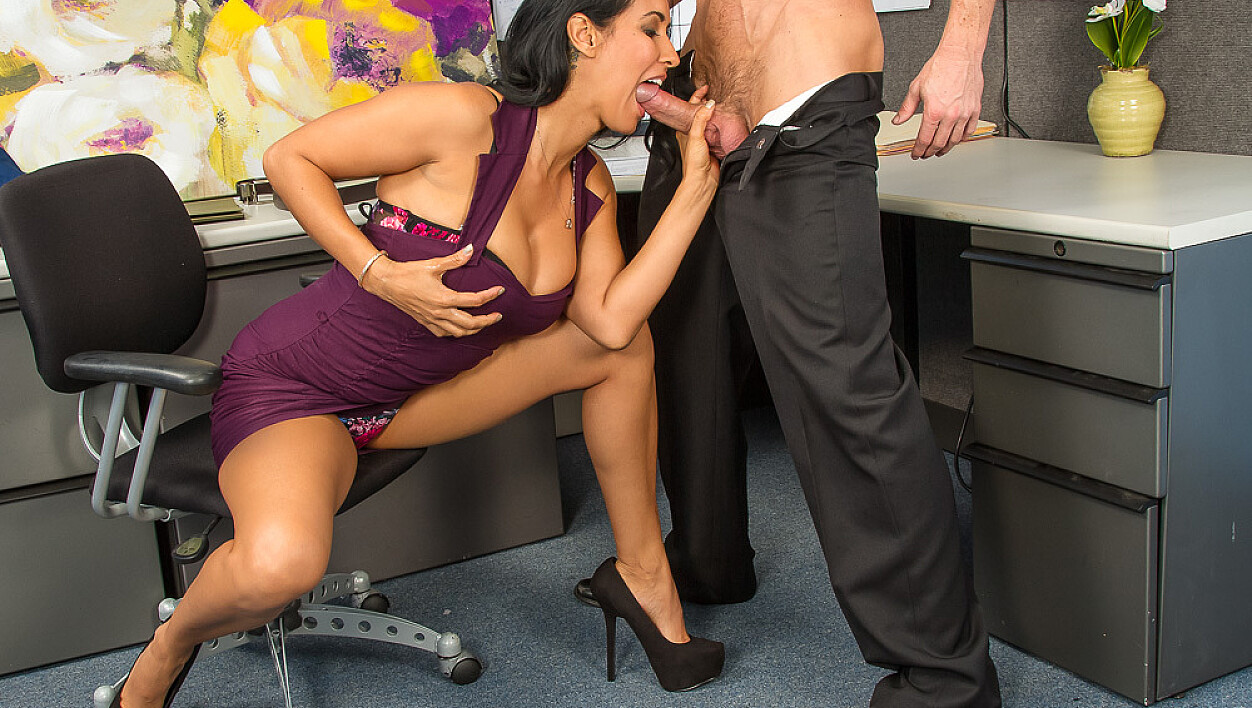 Isis Love fucking in the office with her big natural tits