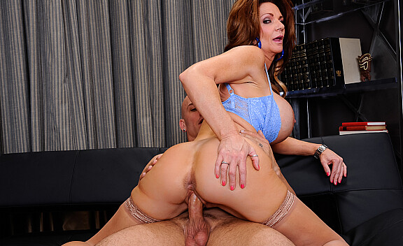 Brunette Deauxma fucking in the couch with her big tits - Sex Position #5
