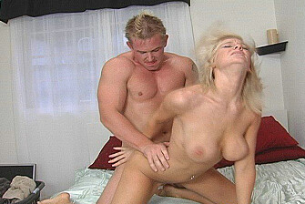 Blonde co-ed Morgan Simpson fucking in the bed with her tits - Blowjob