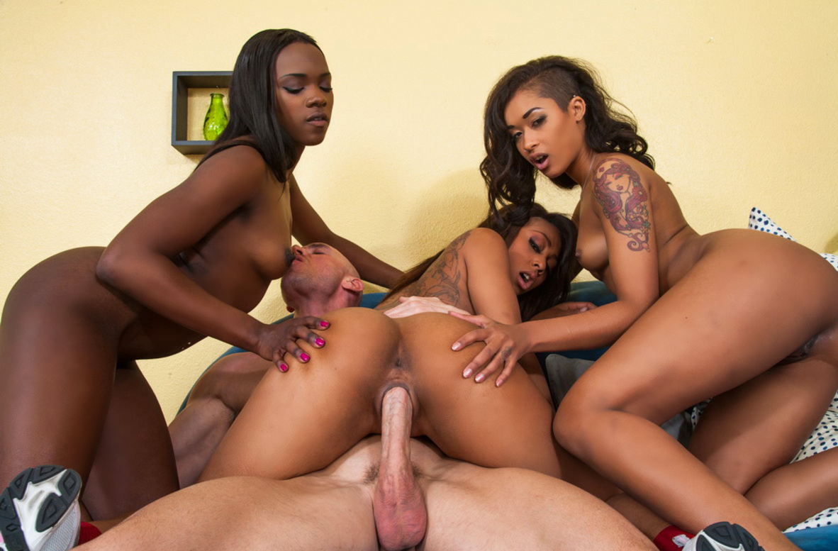 Watch Ana Foxxx, Leilani Leeane, Skin Diamond and Johnny Sins video in 2 Chicks Same Time