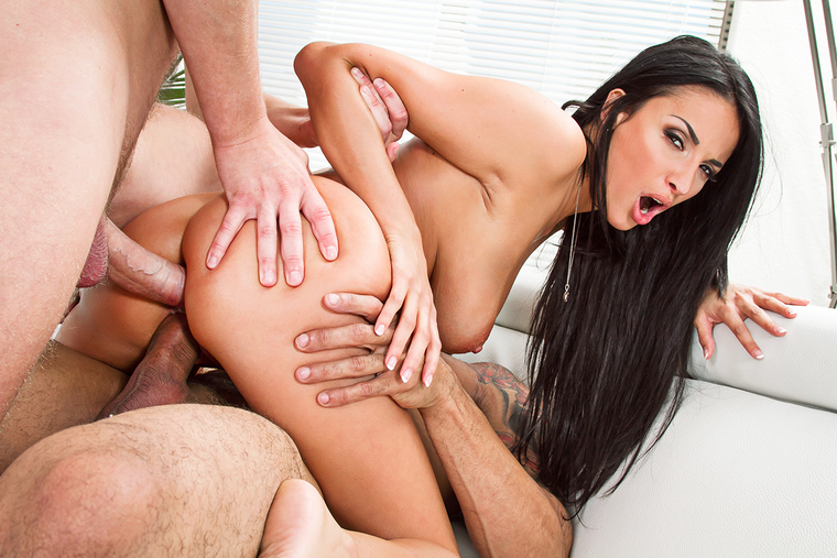 Anissa Kate fucking in the couch with her black hair