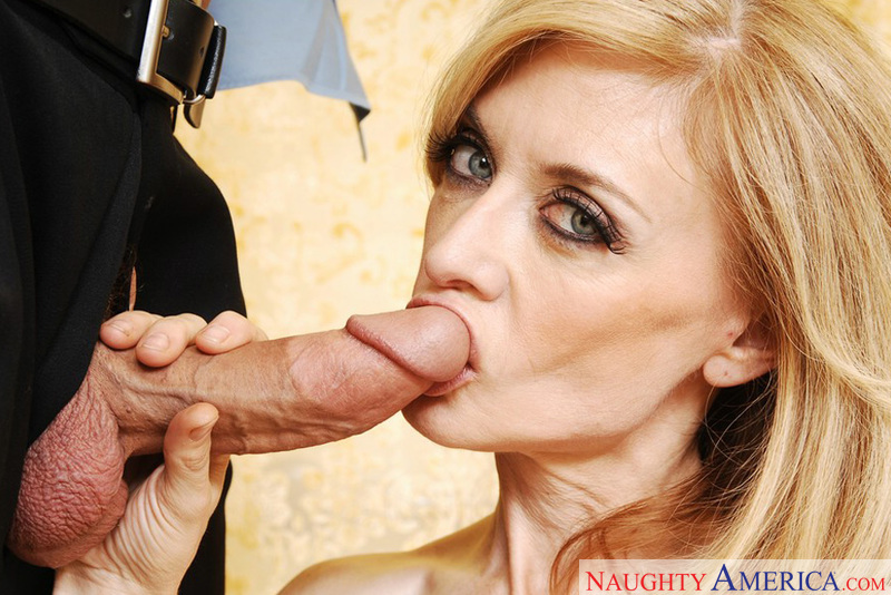 MILF Nina Hartley fucking in the bathroom with her tits - Sex Position 2