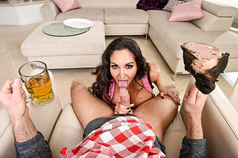 Wife Ava Addams fucking in the den with her natural tits