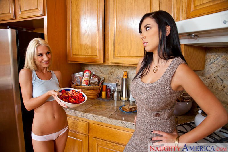 Jelena Jensen fucking in the kitchen with her big tits - Sex Position 1