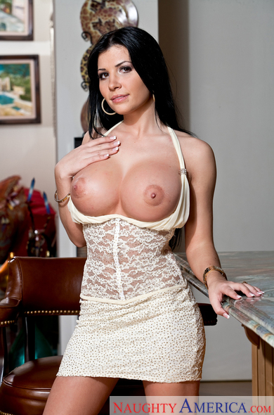 Rebeca Linares fucking in the living room with her big tits