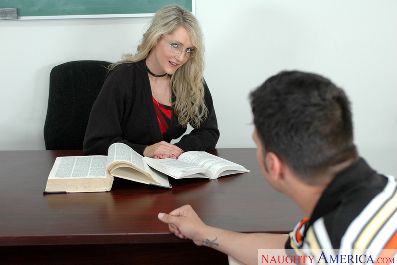 Blonde Lori Lust fucking in the classroom with her glasses - Sex Position 1