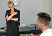 Former Soviet teacher shows pussy under the desk believed from