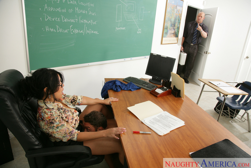 Sienna West fucking in the classroom with her black hair - Sex Position 1