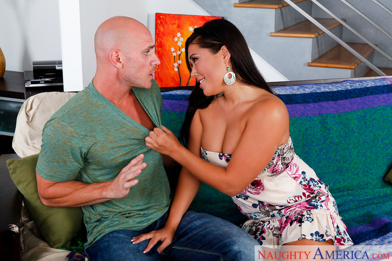 Brunette London Keyes fucking in the couch with her big tits - Sex Position 1