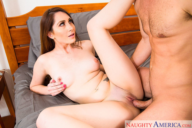 Nina Skye fucking in the bedroom with her green eyes - Sex Position 2