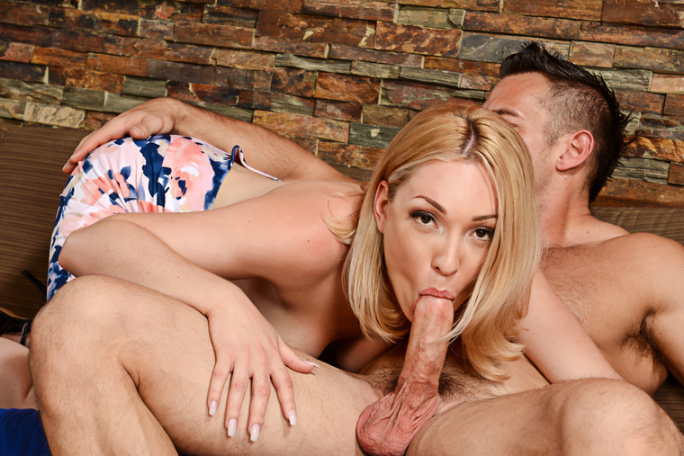 Blonde Lily LaBeau fucking in the couch with her hairy bush