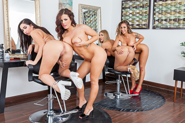 August Ames fucking in the salon with her bubble butt