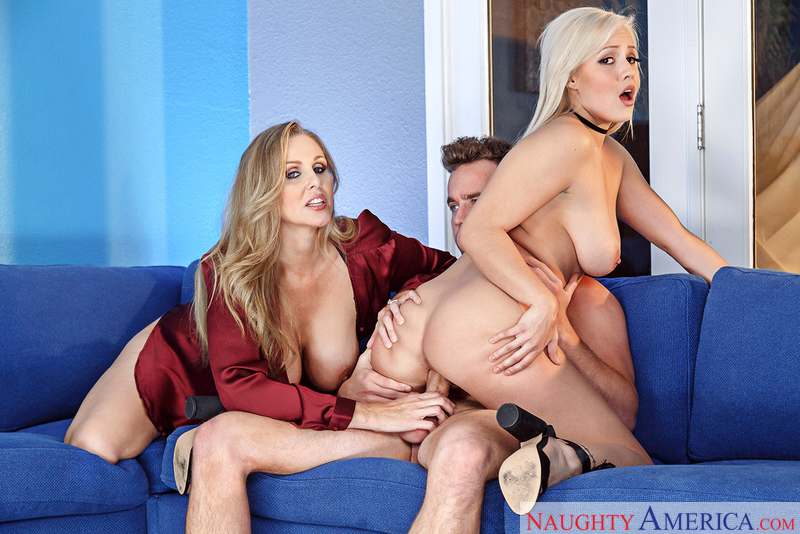 Caucasian Julia Ann fucking in the couch with her big tits - Sex Position 2