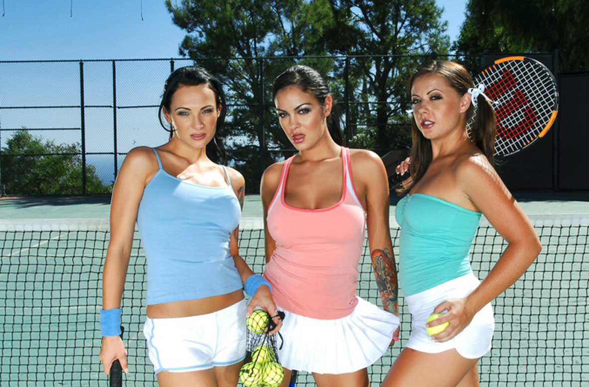 Watch Angelina Valentine, Penny Flame, Victoria Sin and Tony DeSergio video in Naughty Athletics