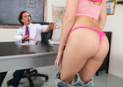 Brunette Brooke Haze fucking in the desk with her petite - Sex Position 1