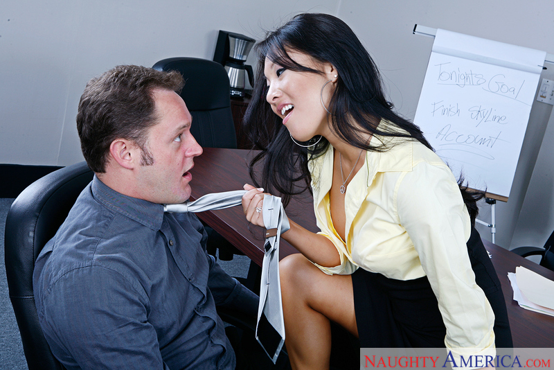 Asa Akira fucking in the chair with her black hair - Sex Position 1