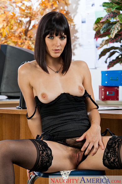 Bobbi Starr fucking in the desk with her black hair